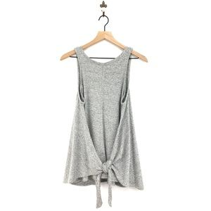 Lou & Grey Tie Front Tank Top Small Heathered Gray